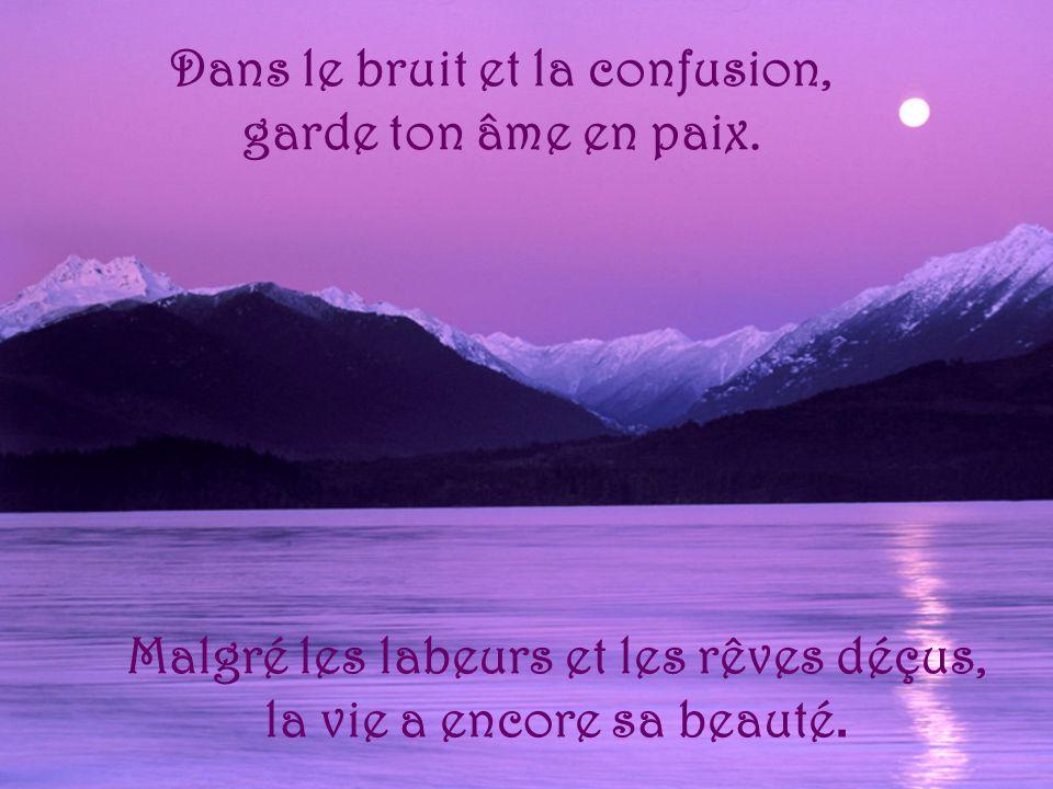 Dans le bruit et la confusion, garde ton âme en paix. Malgré les labeurs et les rêves déçus, la vie a encore sa beauté.