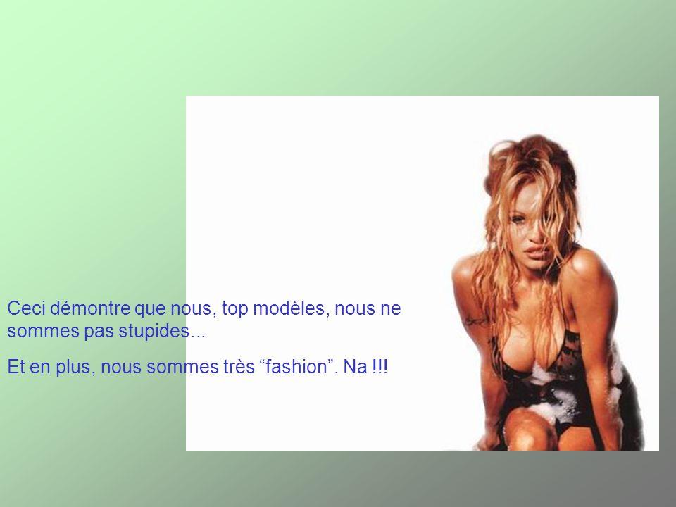 Ceci démontre que nous, top modèles, nous ne sommes pas stupides... Et en plus, nous sommes très fashion. Na !!!