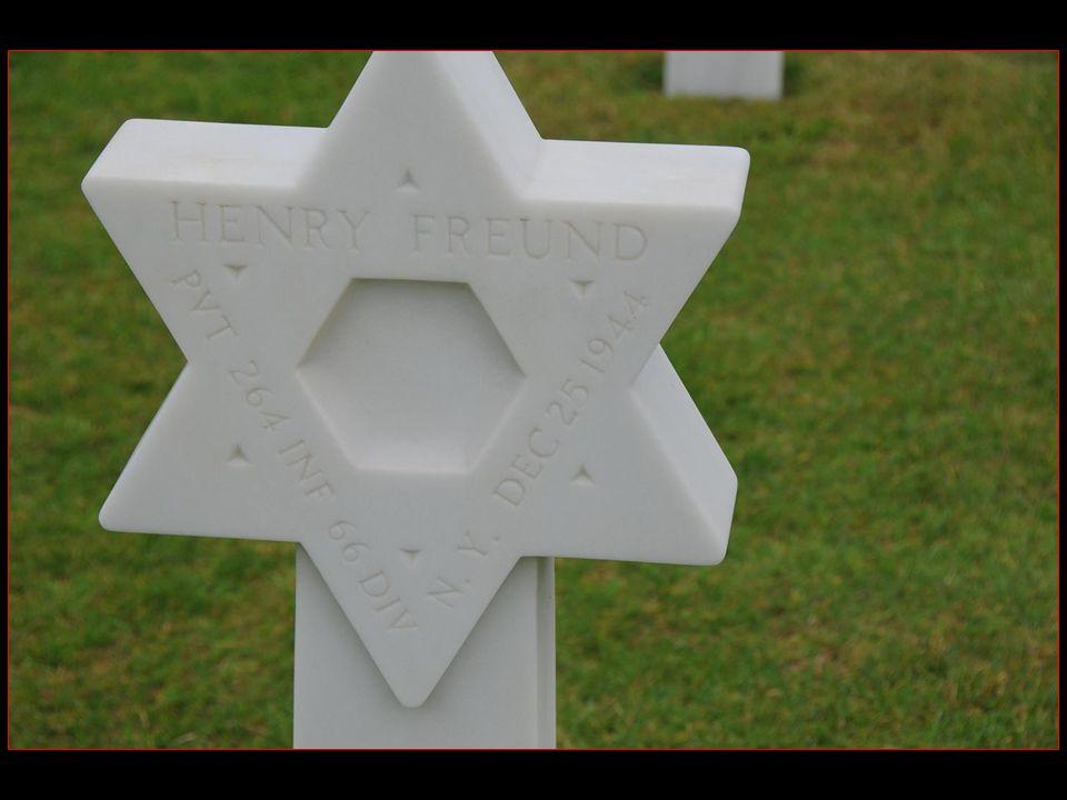 Les stèles de marbre blanc, toutes tournées vers les USA, sont en forme de croix latine ou en forme détoile de David pour les soldats de confession juive