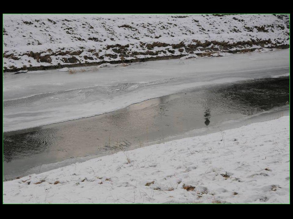 A Moudon la Broye est en partie gelée
