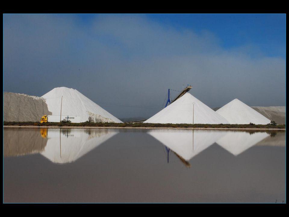 trois tas de sel avec leurs reflets