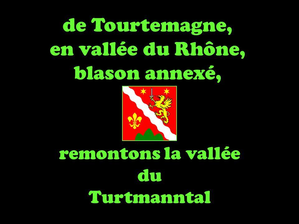 de Tourtemagne, en vallée du Rhône, blason annexé, remontons la vallée du Turtmanntal