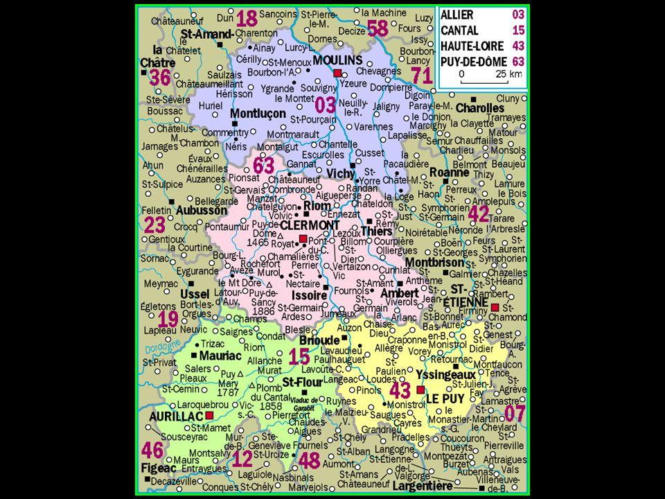 Les 4 départements Allier Cantal Haute-Loire Puy-de-Dôme
