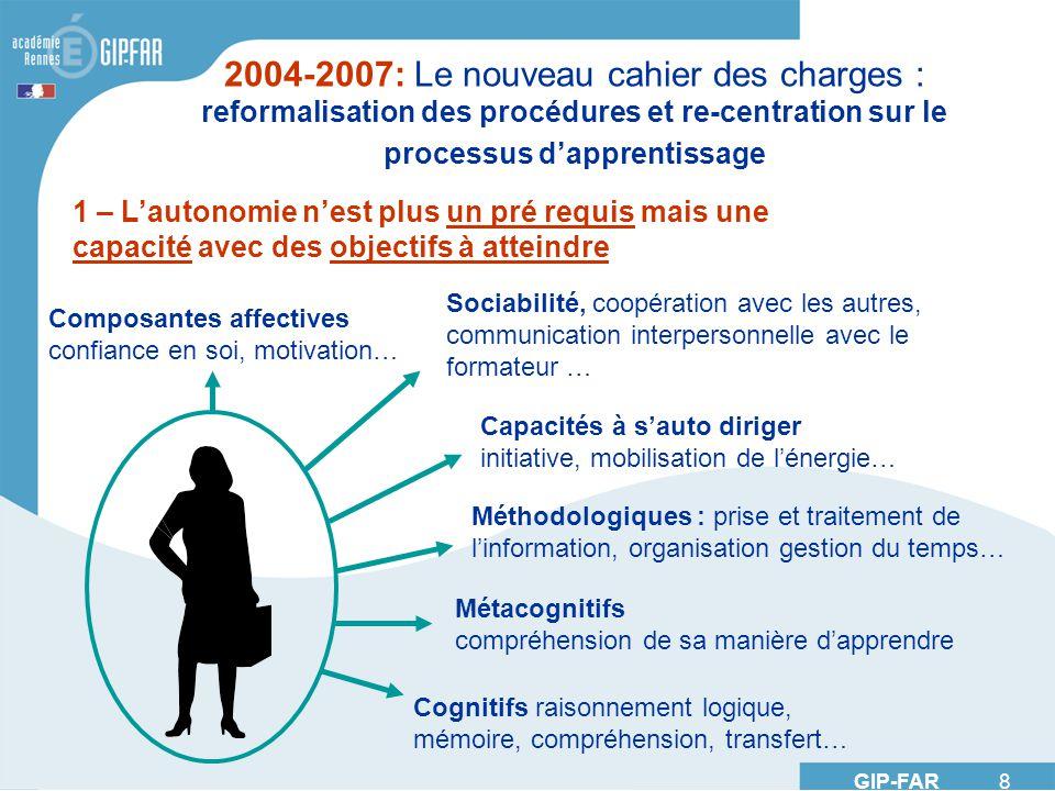GIP-FAR 8 2004-2007: Le nouveau cahier des charges : reformalisation des procédures et re-centration sur le processus dapprentissage 1 – Lautonomie ne