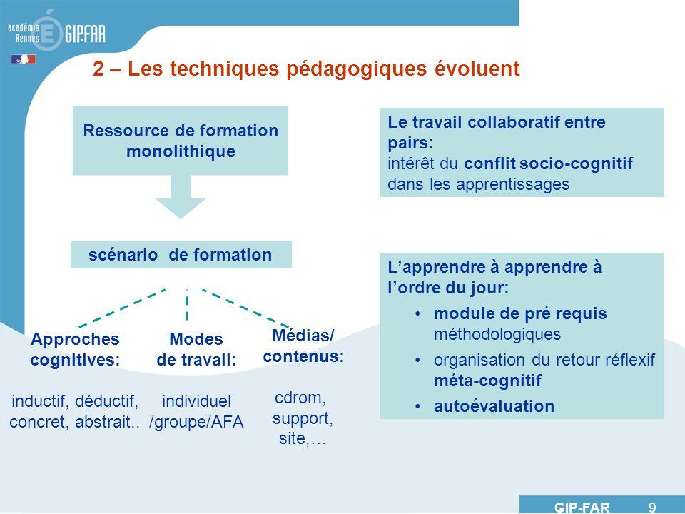 GIP-FAR 9 2 – Les techniques pédagogiques évoluent Le travail collaboratif entre pairs: intérêt du conflit socio-cognitif dans les apprentissages Lapp