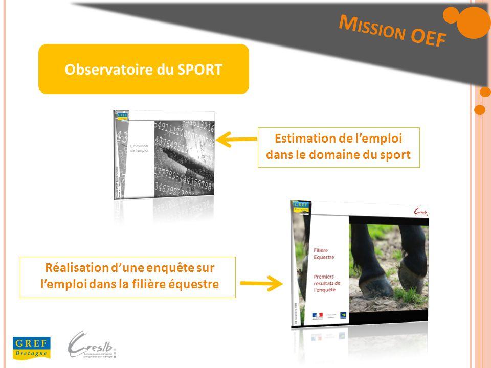 Estimation de lemploi dans le domaine du sport Réalisation dune enquête sur lemploi dans la filière équestre Observatoire du SPORT
