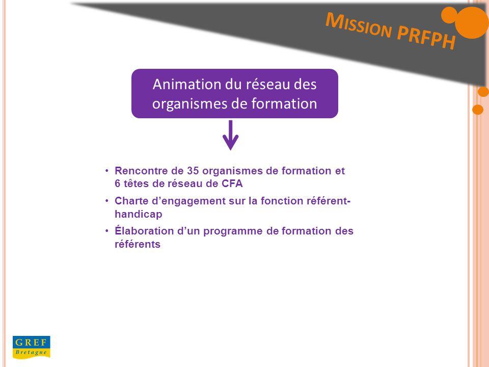 Animation du réseau des organismes de formation Rencontre de 35 organismes de formation et 6 têtes de réseau de CFA Charte dengagement sur la fonction référent- handicap Élaboration dun programme de formation des référents M ISSION PRFPH