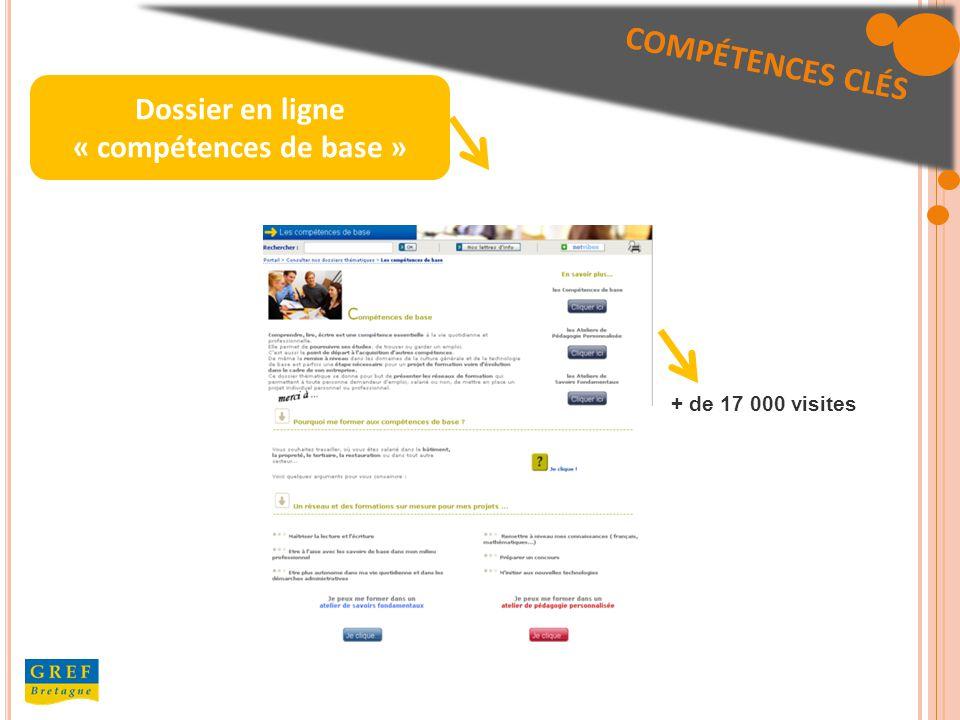 Dossier en ligne « compétences de base » + de 17 000 visites COMPÉTENCES CLÉS