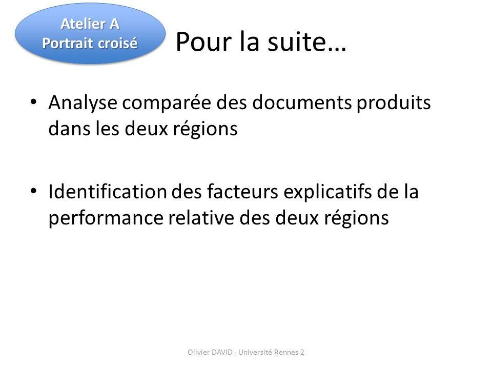 Pour la suite… Analyse comparée des documents produits dans les deux régions Identification des facteurs explicatifs de la performance relative des deux régions Olivier DAVID - Université Rennes 2 Atelier A Portrait croisé