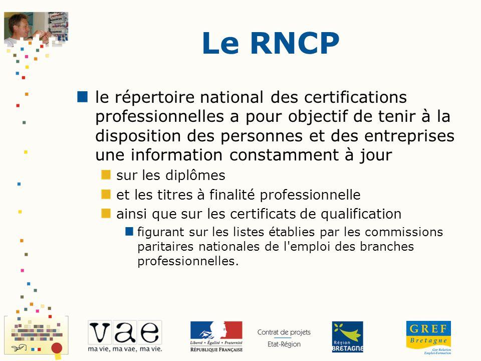 Le RNCP le répertoire national des certifications professionnelles a pour objectif de tenir à la disposition des personnes et des entreprises une info