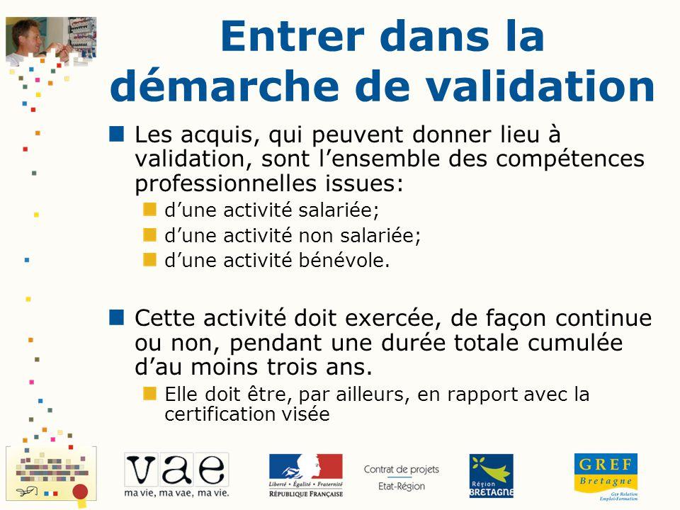 Entrer dans la démarche de validation Les acquis, qui peuvent donner lieu à validation, sont lensemble des compétences professionnelles issues: dune a