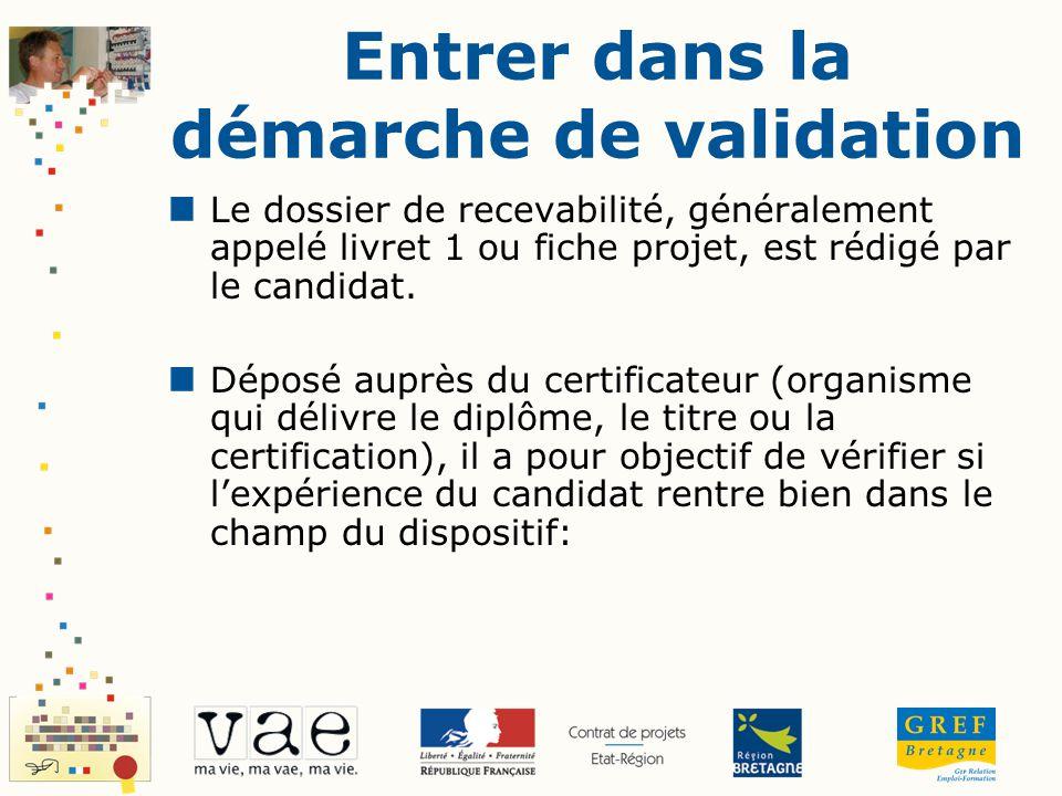 Entrer dans la démarche de validation Le dossier de recevabilité, généralement appelé livret 1 ou fiche projet, est rédigé par le candidat. Déposé aup
