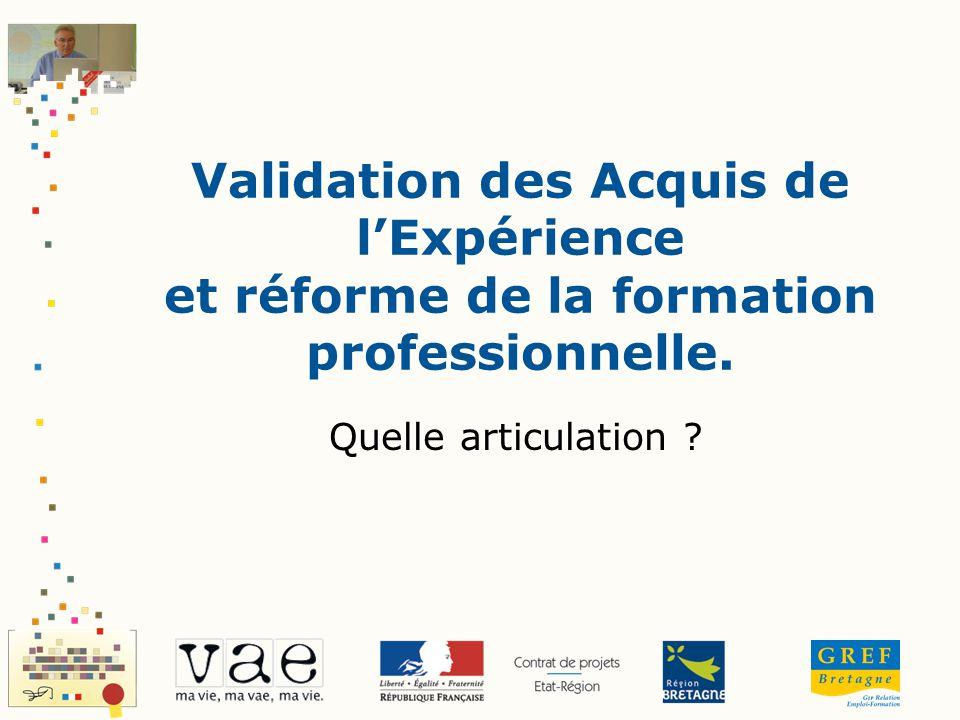 Validation des Acquis de lExpérience et réforme de la formation professionnelle. Quelle articulation ?
