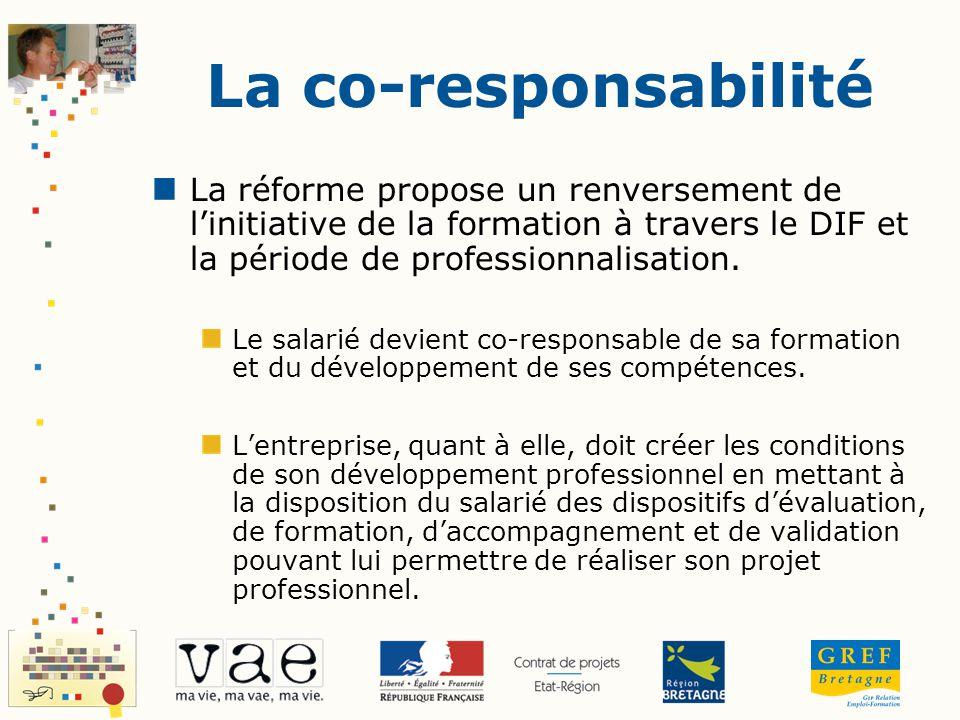 La co-responsabilité La réforme propose un renversement de linitiative de la formation à travers le DIF et la période de professionnalisation. Le sala
