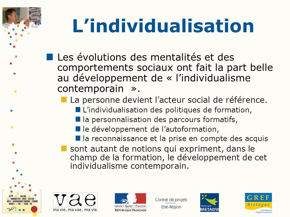 Lindividualisation Les évolutions des mentalités et des comportements sociaux ont fait la part belle au développement de « lindividualisme contemporai