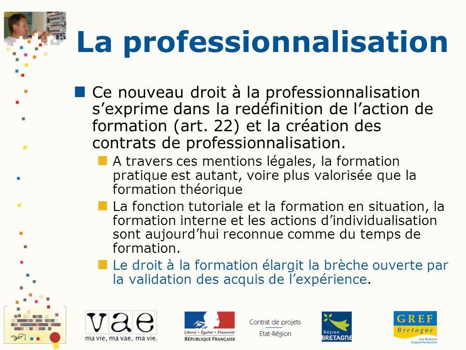 Ce nouveau droit à la professionnalisation sexprime dans la redéfinition de laction de formation (art. 22) et la création des contrats de professionna