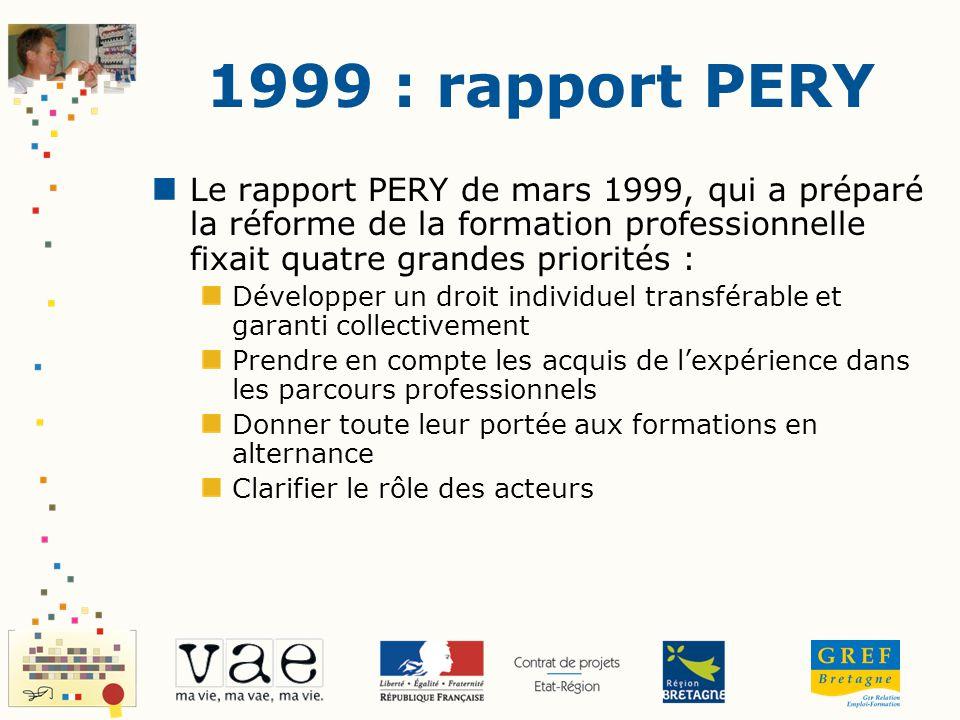 1999 : rapport PERY Le rapport PERY de mars 1999, qui a préparé la réforme de la formation professionnelle fixait quatre grandes priorités : Développe