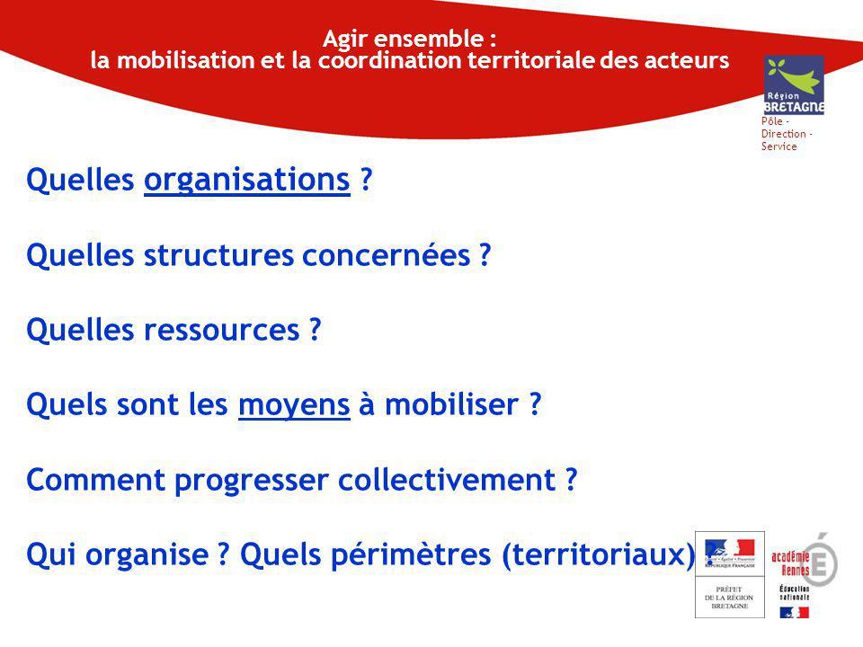 Pôle - Direction - Service Agir ensemble : la mobilisation et la coordination territoriale des acteurs Quelles organisations .