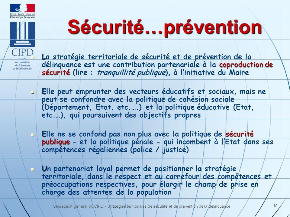 Secrétariat général du CIPD - Stratégies territoriales de sécurité et de prévention de la délinquance 10 Sécurité…prévention L coproduction de sécurit