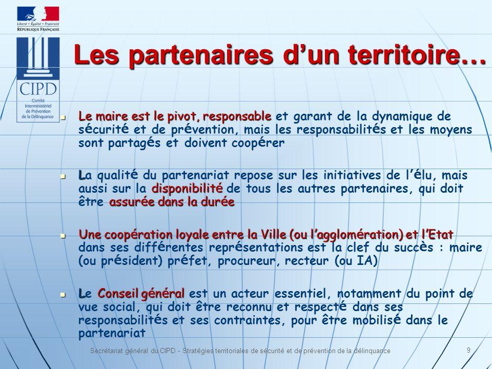 Secrétariat général du CIPD - Stratégies territoriales de sécurité et de prévention de la délinquance 9 Les partenaires dun territoire… Le maire est l