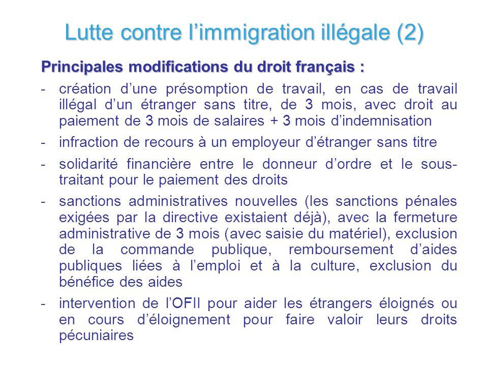 Lutte contre limmigration illégale (2) Principales modifications du droit français : -création dune présomption de travail, en cas de travail illégal