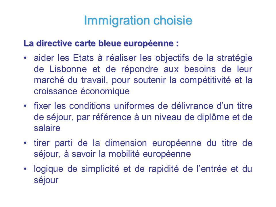 Immigration choisie La directive carte bleue européenne : aider les Etats à réaliser les objectifs de la stratégie de Lisbonne et de répondre aux beso