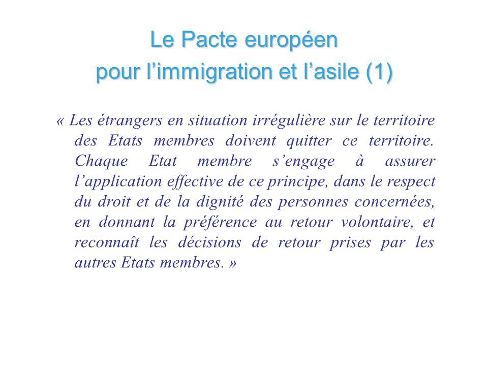 Le Pacte européen pour limmigration et lasile (1) « Les étrangers en situation irrégulière sur le territoire des Etats membres doivent quitter ce terr