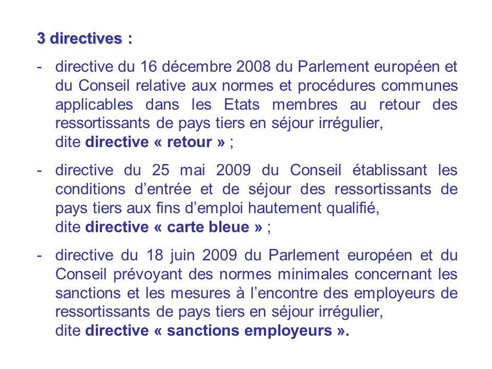 3 directives : -directive du 16 décembre 2008 du Parlement européen et du Conseil relative aux normes et procédures communes applicables dans les Etat