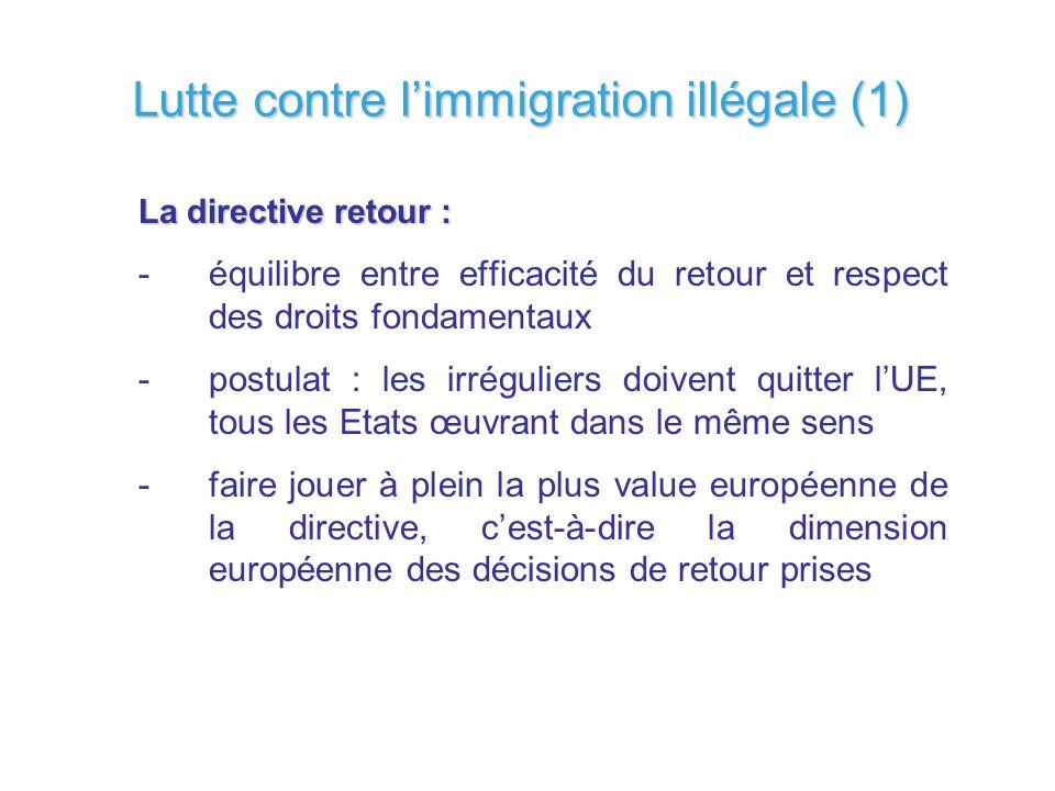 Lutte contre limmigration illégale (1) La directive retour : -équilibre entre efficacité du retour et respect des droits fondamentaux -postulat : les