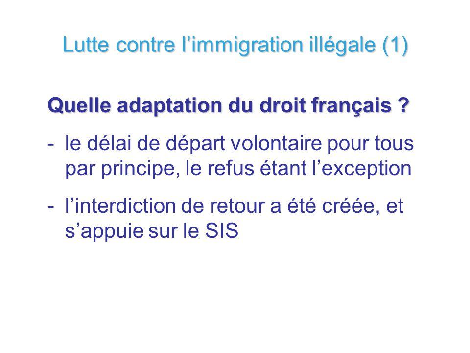 Quelle adaptation du droit français ? -le délai de départ volontaire pour tous par principe, le refus étant lexception -linterdiction de retour a été