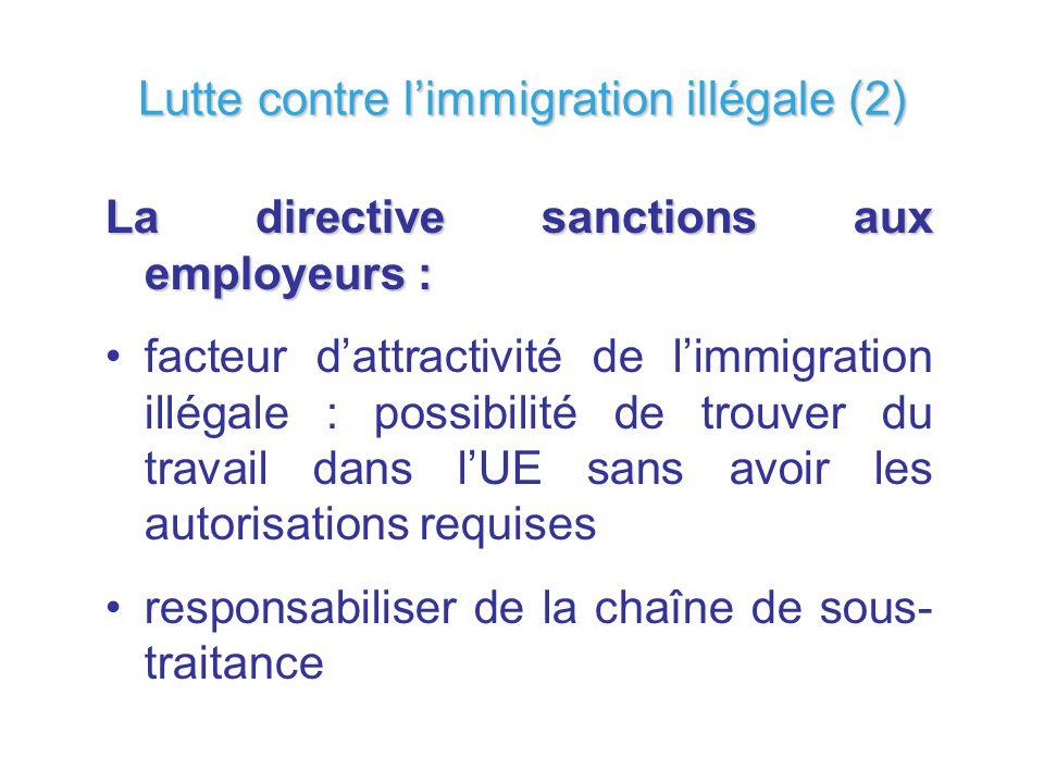 La directive sanctions aux employeurs : facteur dattractivité de limmigration illégale : possibilité de trouver du travail dans lUE sans avoir les aut