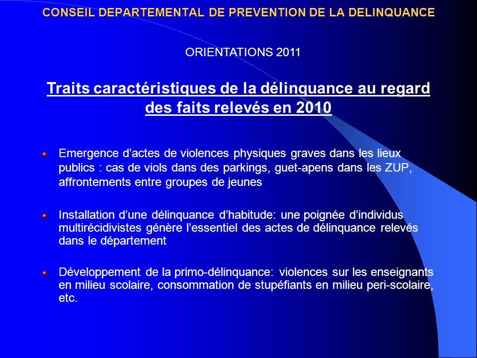 CONSEIL DEPARTEMENTAL DE PREVENTION DE LA DELINQUANCE Emergence dactes de violences physiques graves dans les lieux publics : cas de viols dans des pa