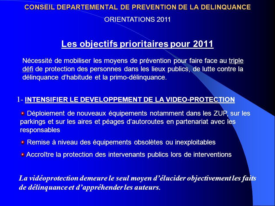 CONSEIL DEPARTEMENTAL DE PREVENTION DE LA DELINQUANCE Les objectifs prioritaires pour 2011 ORIENTATIONS 2011 1- INTENSIFIER LE DEVELOPPEMENT DE LA VID