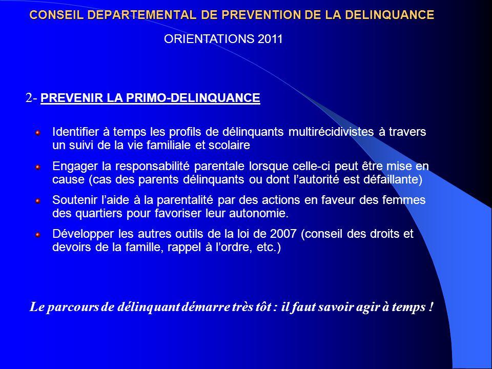 CONSEIL DEPARTEMENTAL DE PREVENTION DE LA DELINQUANCE Identifier à temps les profils de délinquants multirécidivistes à travers un suivi de la vie fam