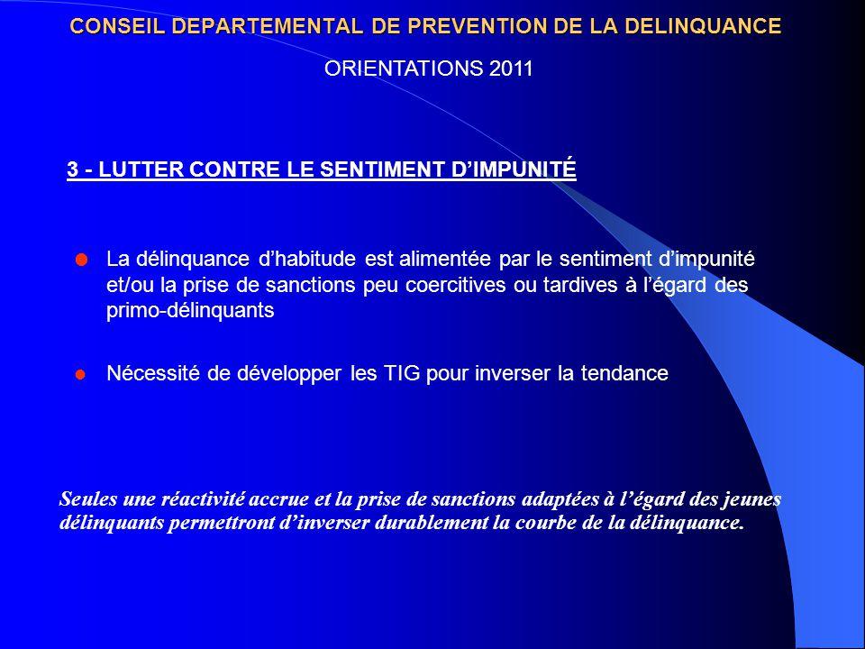 CONSEIL DEPARTEMENTAL DE PREVENTION DE LA DELINQUANCE La délinquance dhabitude est alimentée par le sentiment dimpunité et/ou la prise de sanctions pe