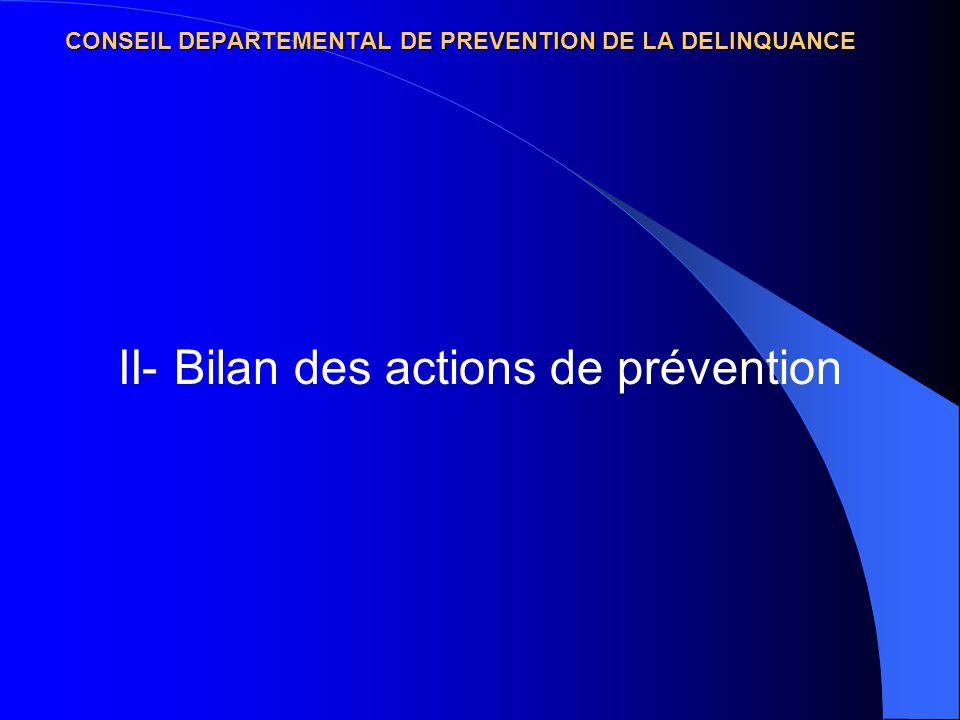 II- Bilan des actions de prévention