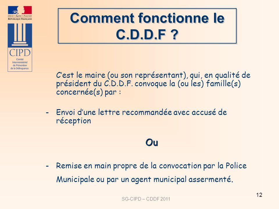 SG-CIPD – CDDF 2011 12 Cest le maire (ou son représentant), qui, en qualité de président du C.D.D.F.