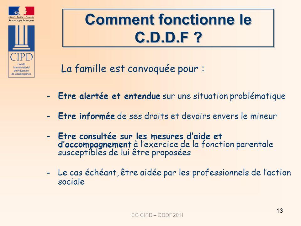 SG-CIPD – CDDF 2011 13 Comment fonctionne le C.D.D.F .