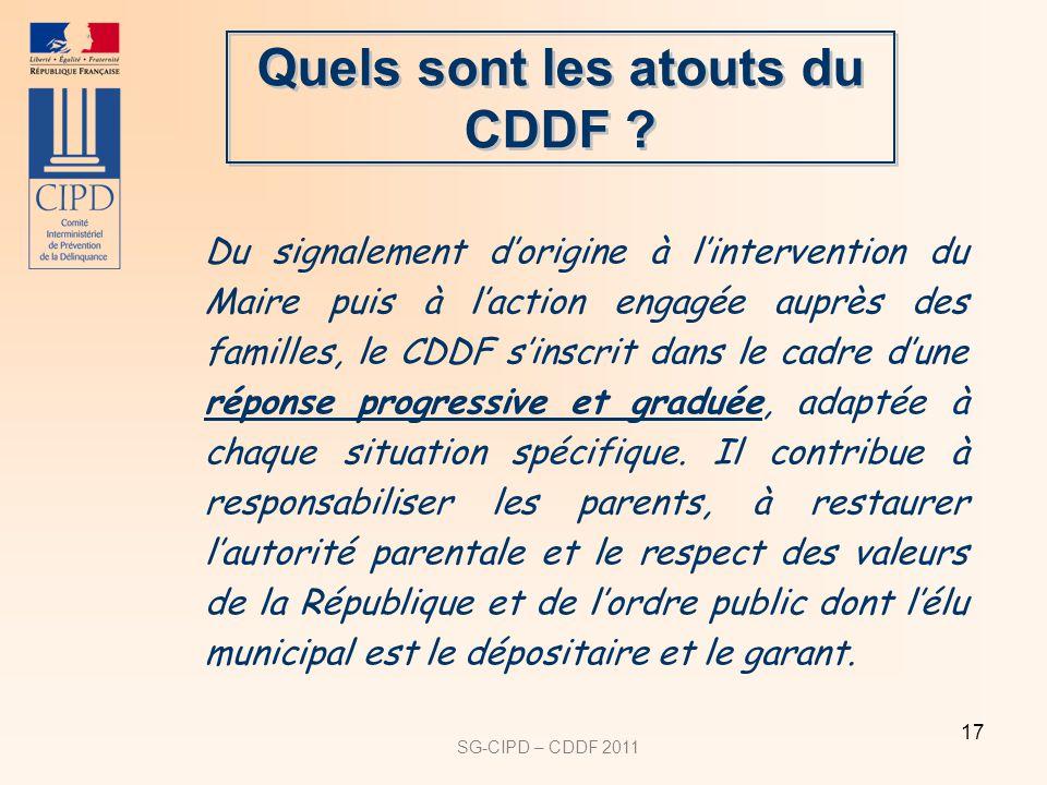 SG-CIPD – CDDF 2011 17 Quels sont les atouts du CDDF .