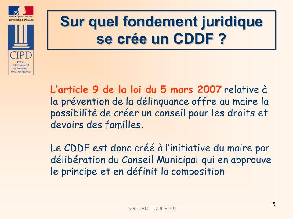 SG-CIPD – CDDF 2011 5 Larticle 9 de la loi du 5 mars 2007 relative à la prévention de la délinquance offre au maire la possibilité de créer un conseil pour les droits et devoirs des familles.