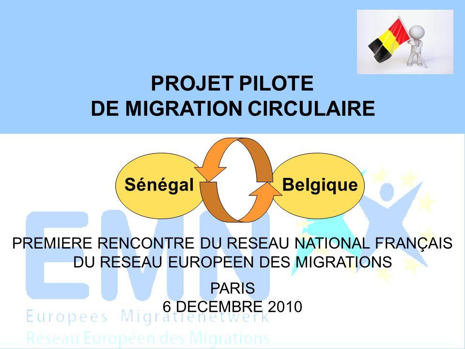 PROJET PILOTE DE MIGRATION CIRCULAIRE PREMIERE RENCONTRE DU RESEAU NATIONAL FRANÇAIS DU RESEAU EUROPEEN DES MIGRATIONS PARIS 6 DECEMBRE 2010 SénégalBelgique