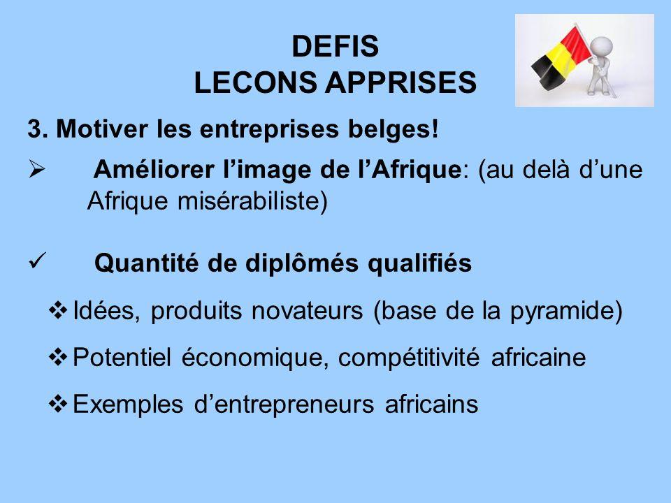 DEFIS LECONS APPRISES 3. Motiver les entreprises belges! Améliorer limage de lAfrique: (au delà dune Afrique misérabiliste) Quantité de diplômés quali