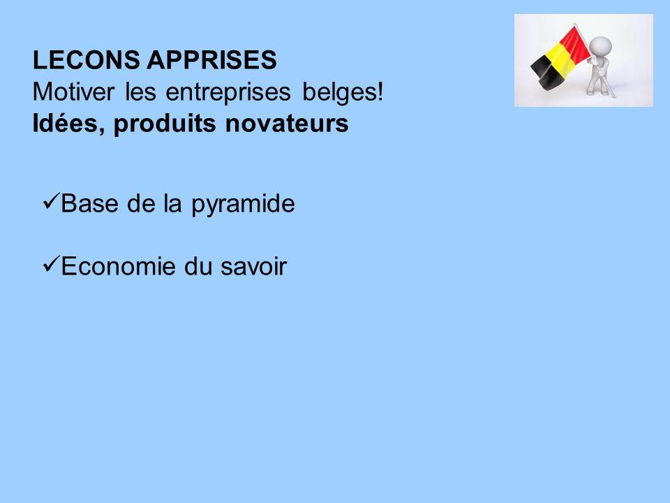 LECONS APPRISES Motiver les entreprises belges! Idées, produits novateurs Base de la pyramide Economie du savoir