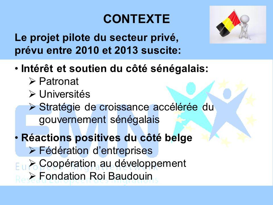 CONTEXTE Le projet pilote du secteur privé, prévu entre 2010 et 2013 suscite: Intérêt et soutien du côté sénégalais: Patronat Universités Stratégie de