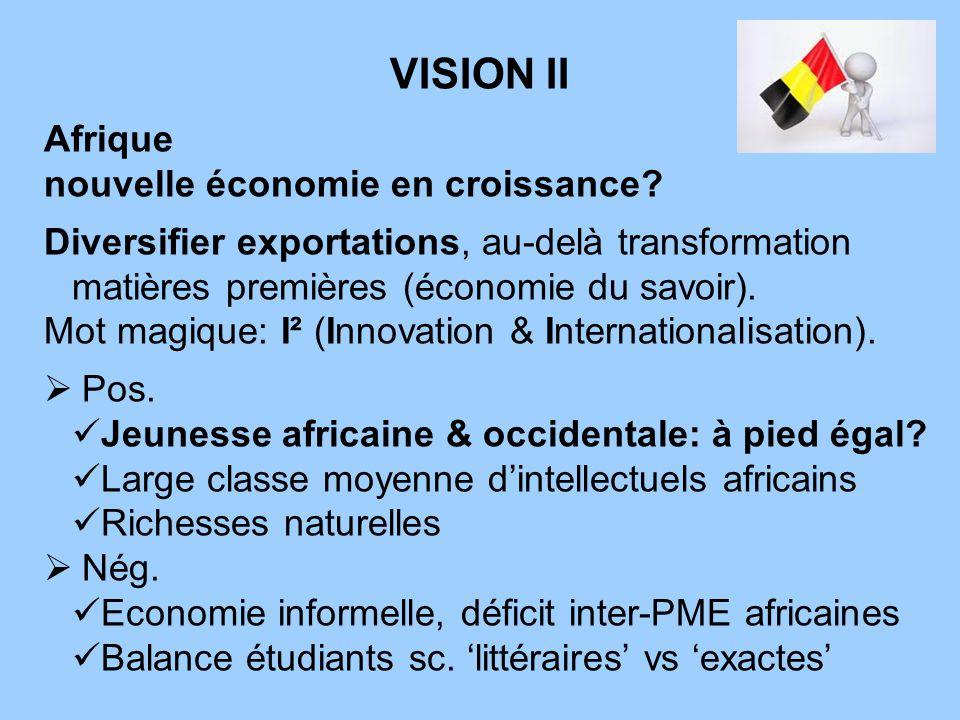 VISION II Afrique nouvelle économie en croissance? Diversifier exportations, au-delà transformation matières premières (économie du savoir). Mot magiq