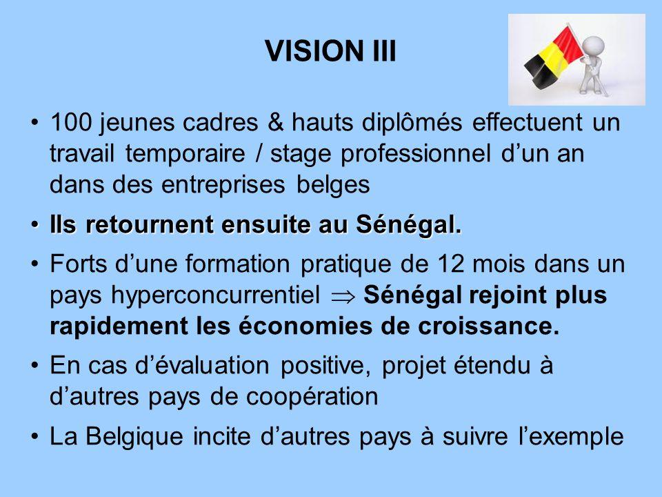 VISION III 100 jeunes cadres & hauts diplômés effectuent un travail temporaire / stage professionnel dun an dans des entreprises belges Ils retournent