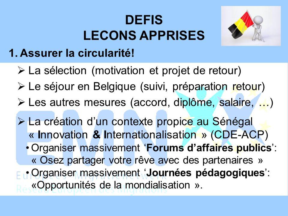 DEFIS LECONS APPRISES 1.Assurer la circularité! La sélection (motivation et projet de retour) Le séjour en Belgique (suivi, préparation retour) Les au