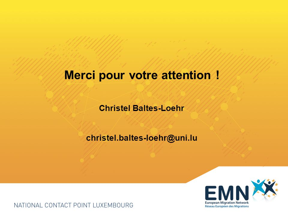 Merci pour votre attention ! Christel Baltes-Loehr christel.baltes-loehr@uni.lu