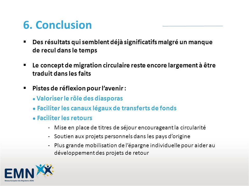 6. Conclusion Des résultats qui semblent déjà significatifs malgré un manque de recul dans le temps Le concept de migration circulaire reste encore la
