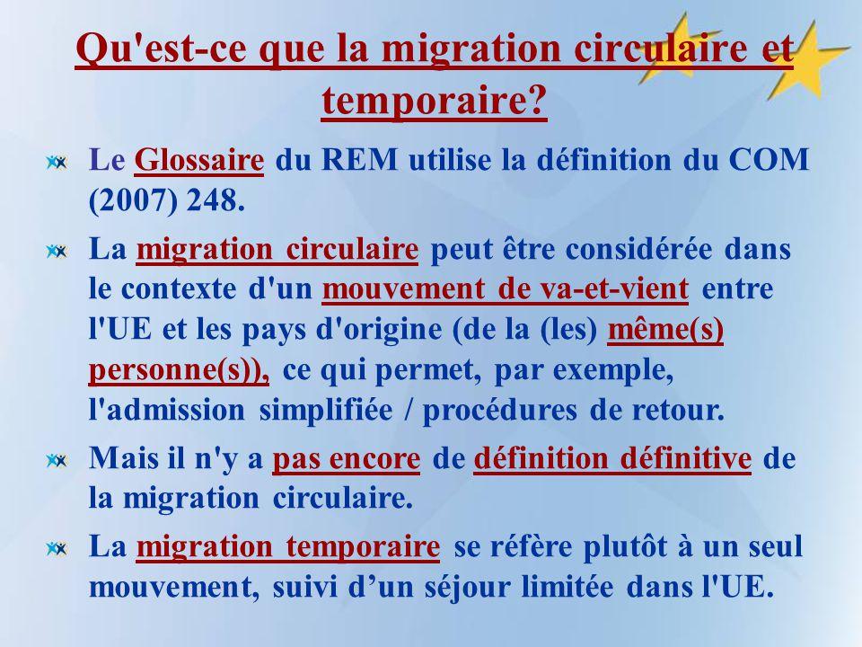 """Pr�sentation """"L�tude du REM sur Migration temporaire et circulaire ..."""